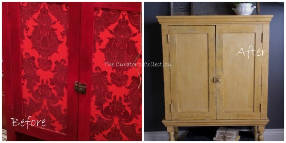 Before & After red cabinet pic