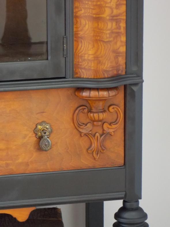 1920's China hutch makeover in typewriter milk paint 042
