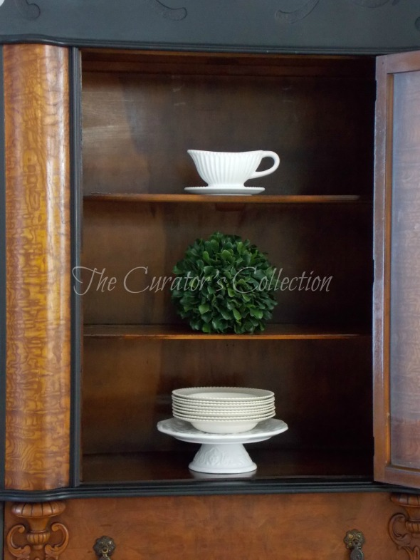 1920's China hutch makeover in typewriter milk paint 047
