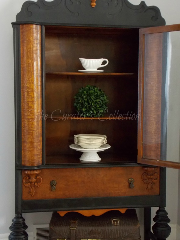 1920's China hutch makeover in typewriter milk paint 051