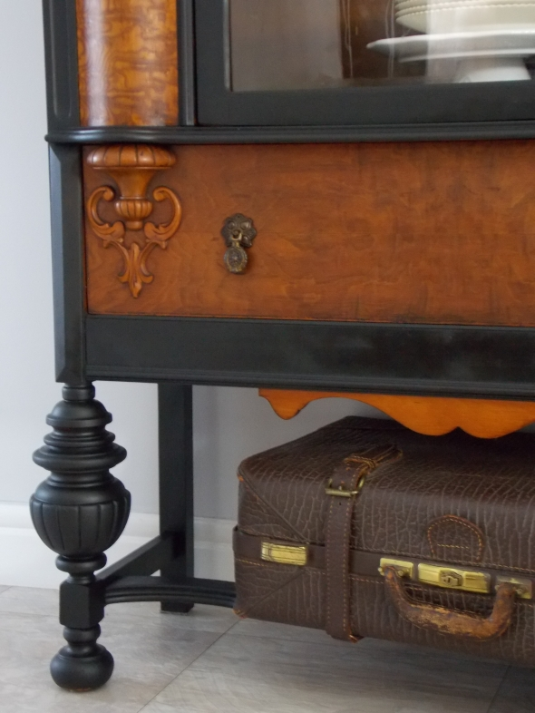 1920's China hutch makeover in typewriter milk paint 086