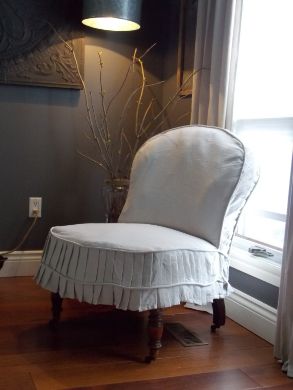 Slpi covered antique chair,desk redo, spring buds 192