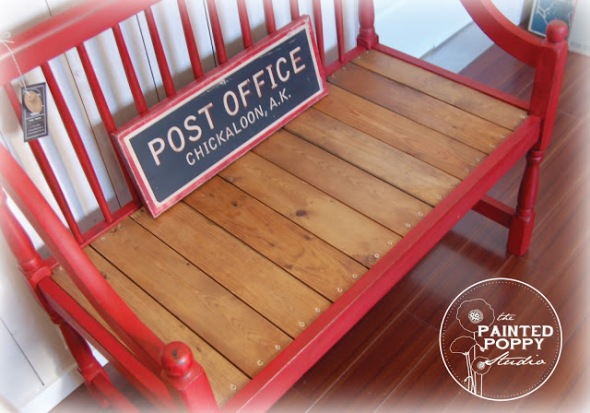 Painted Poppy Sassy Red Bench
