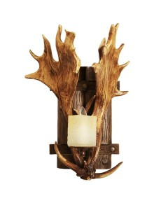 antler sconce with glass candle light