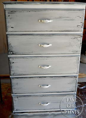gray and white chippy dresser