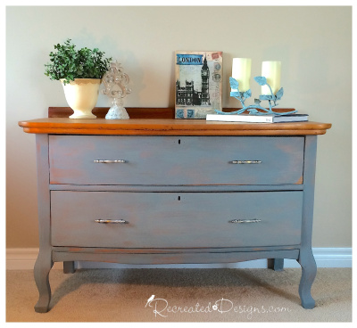 A beautiful Queen Anne style dresser redone in Miss Mustard Seed Bergere and hemp oil www.recreateddesigns.com