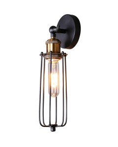 rustic industrial slender cage wall sconce