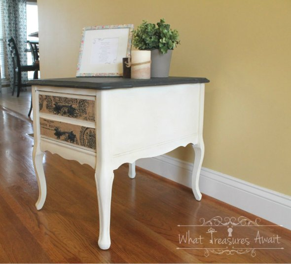 Chalk-paint-side-table-with-burlap-drawers