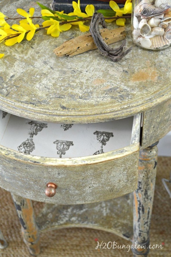 DIY-aged-chippy-paint-furniture-makeover-tutorial-with-stamped-drawer-H2OBungalow